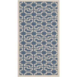Safavieh Indoor/ Outdoor Courtyard Rectangular Blue/ Beige Rug (2'7 x 5')