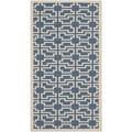 Safavieh Indoor/ Outdoor Courtyard Rectangular Blue/ Beige Rug (2'7 x 5')