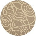 Safavieh Indoor/ Outdoor Courtyard Coffee/ Sand Rug (6'7 Round)