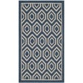 Safavieh Indoor/ Outdoor Courtyard Navy/ Beige Geometric Rug (2'7 x 5')