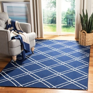 Safavieh Handwoven Moroccan Reversible Dhurries Contemporary Navy/ Ivory Wool Rug (3' x 5')
