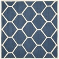 Safavieh Handmade Moroccan Cambridge Geometric-pattern Navy/ Ivory Wool Rug (8' Square)