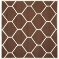 Safavieh Handmade Moroccan Cambridge Collection Dark Brown/ Ivory Wool Rug (8' Square)