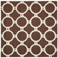 Safavieh Handmade Moroccan Cambridge Rectangular Dark Brown/ Ivory Wool Rug (8' Square)