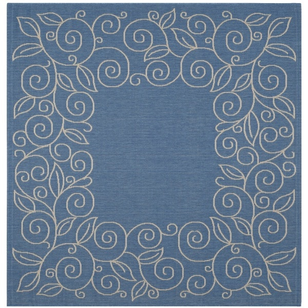 Safavieh Indoor/Outdoor Courtyard Blue/Beige Floral Rug (7'10 Square)