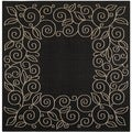 Safavieh Indoor/ Outdoor Courtyard Scroll-pattern Black/ Beige Rug (7'10'' Square)