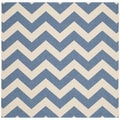 Safavieh Indoor/Outdoor Courtyard Blue/Beige Zig-zag Area Rug (7'10 Square)