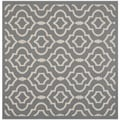 Safavieh Indoor/ Outdoor Courtyard Anthracite/ Beige Area Rug (7'10 Square)