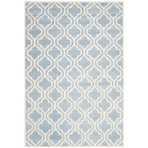 Safavieh Handmade Moroccan Chatham Blue/ Ivory Wool Rug (9' x 12')