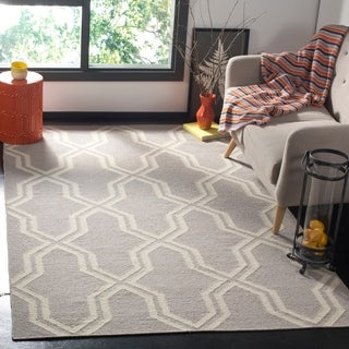 Safavieh Hand-woven Moroccan Dhurries Grey/ Ivory Wool Rug (9' x 12')