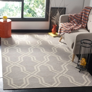 Safavieh Handwoven Moroccan Dhurries Grey/ Ivory Wool Area Rug (9' x 12')