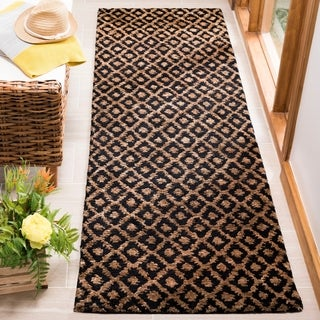 Safavieh Handmade Bohemian Black/ Gold Hemp Rug (2'6 x 10')