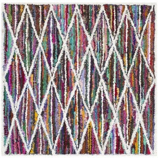 Safavieh Handmade Nantucket Multicolored Cotton Area Rug (4' Square)