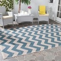Safavieh Indoor/ Outdoor Courtyard Blue/ Beige Geometric-pattern Rug (5'3 Square)
