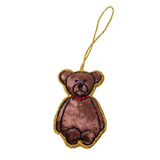 Handcrafted Teddy Bear Ornament (India)