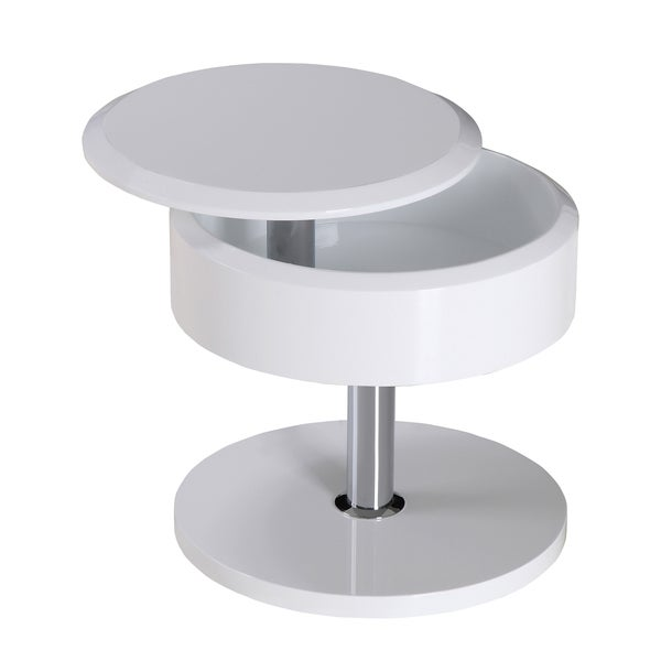 High Gloss White Coffee Table Round Angle Black Glass Top: High Gloss White Side Table