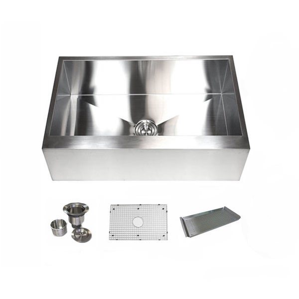 Flat Pack Stainless Steel Sinks : 16 Gauge Stainless Steel Single Bowl Flat Apron Farmhouse Kitchen Sink ...