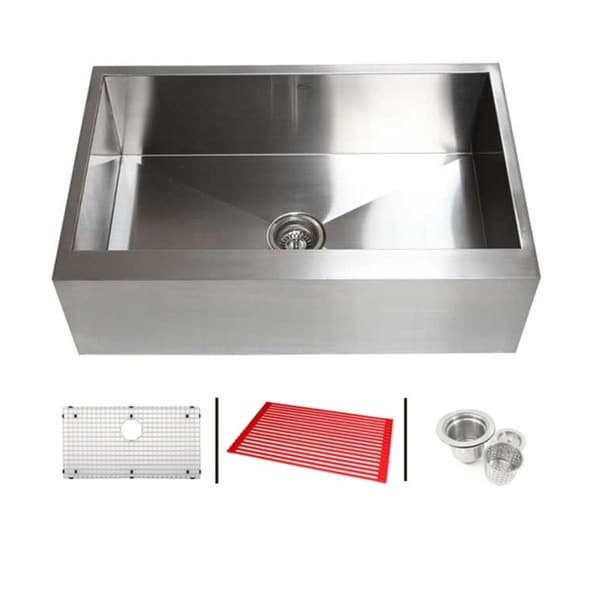 33-inch 16 Gauge Stainless Steel Single Bowl Flat Apron Farmhouse Kitchen Sink Combo 12035082