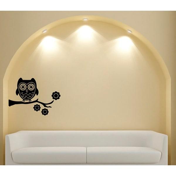 Whimsical Owl Glossy Black Vinyl Wall Decal