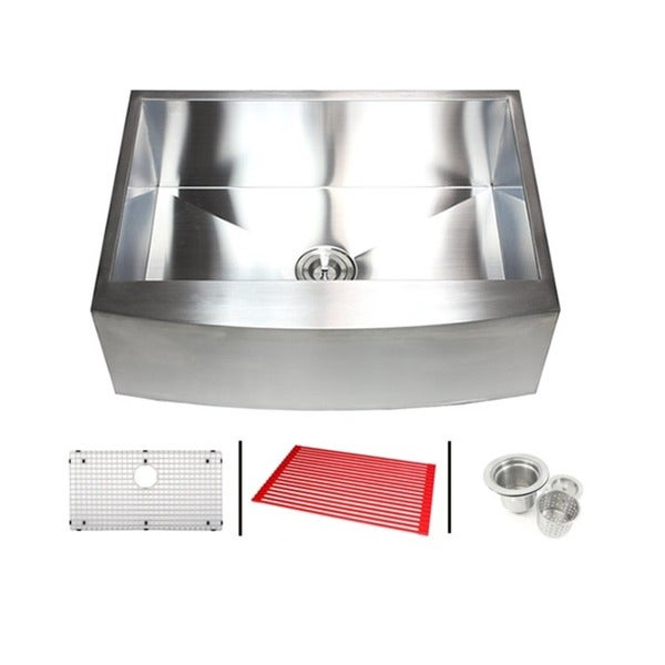 33-inch 16 Gauge Stainless Steel Single Bowl Curve Apron Farmhouse Kitchen Sink Combo 12035143