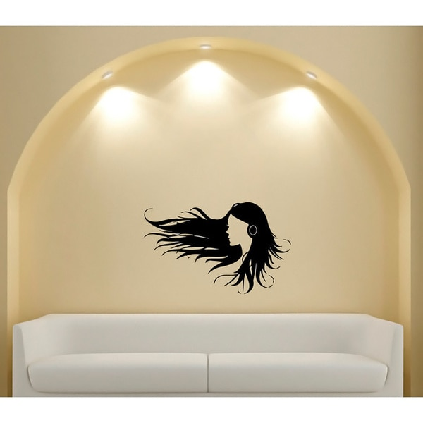 Woman in Headphones Glossy Black Vinyl Wall Decal