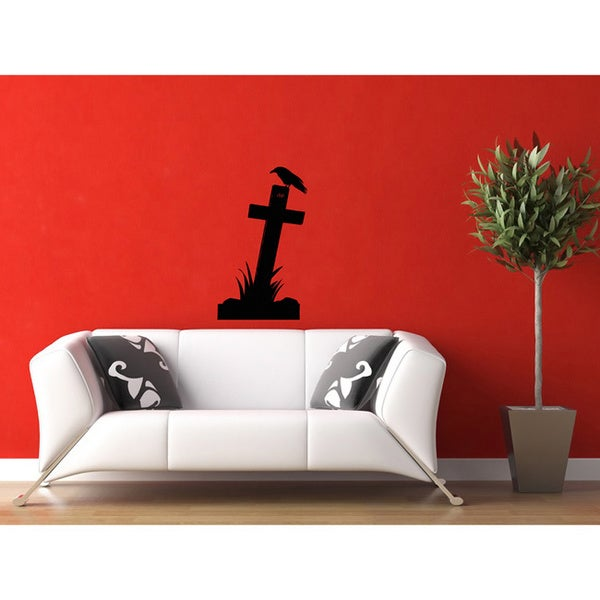 Grave Cross Vinyl Wall Decal
