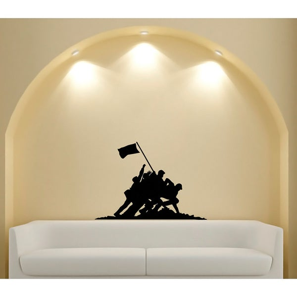 Monument to Soldiers Patriotic Glossy Black Vinyl Wall Decal