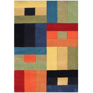 Handmade Alliyah Multicolored Abstract New Zealand Blended Wool Rug (5 x 8)