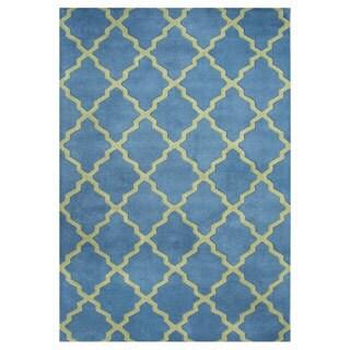 Handmade Aqua Blue/ Aspen Green Blend Wool Area Rug (5' x 8')