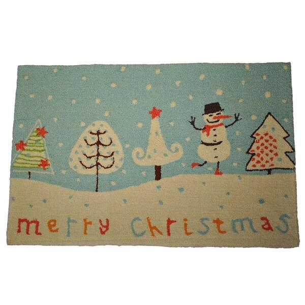 Merry Christmas Snowman Rug