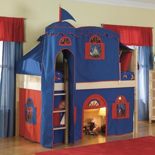 Bolton Low-loft Twin Bed with Castle Tower/ Top Tent/ Bottom Playhouse Curtain/ Ladder