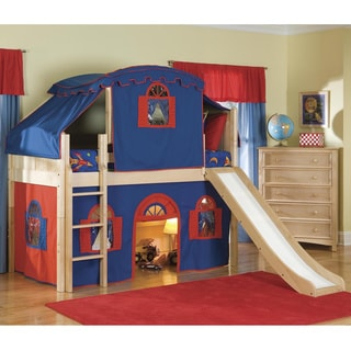 Natural Low-Loft Twin Playhouse Bed with Slide and Ladder