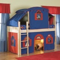 Low-Loft Natural Twin Bed with Bottom Playhouse Curtain and Ladder