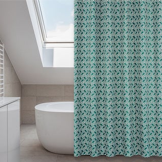 Metro Emerald Green Shower Curtain, Rings, Liner Set
