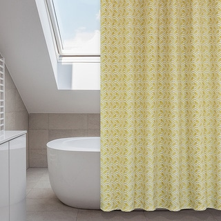 Metro Yellow Shower Curtain, Rings, Liner Set