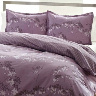 City Scene Blossom Purple Floral Reversible Comforter Set