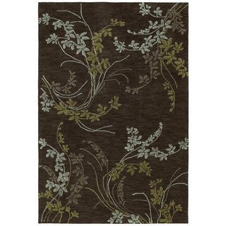 Handmade Copia Chocolate Vines Polyester Rug (5' x 7'6)