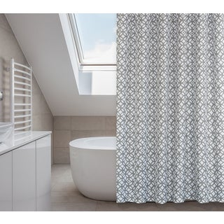 Madison Grey Shower Curtain, Liner, Hooks Set