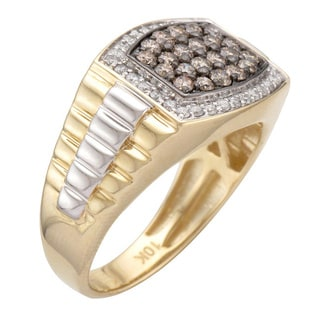 10k Two-tone Gold Men's Brown and White Diamond Ring