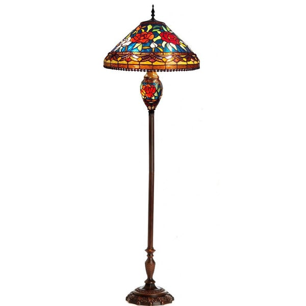chloe tiffany style 2 light flower design floor lamp 15820169. Black Bedroom Furniture Sets. Home Design Ideas
