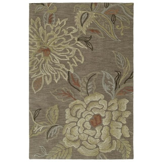 Handmade Copia Light Brown Floral Polyester Rug (4' x 6')