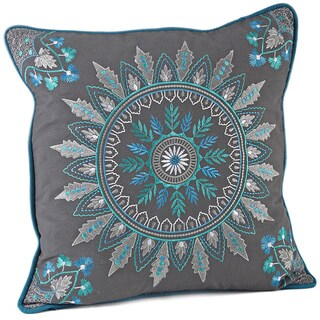 Medallion Embroidered 17-inch Decorative Down Fill Throw Pillow