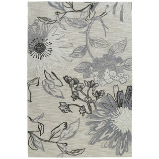 Handmade Copia Grey Floral Polyester Rug (8' x 10')