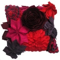 3-dimensional Multi-colored Floral Toss Throw Pillow (India)