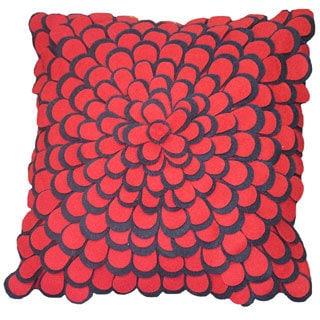 Red and Blue Felt Petals Toss Throw Pillow (India)
