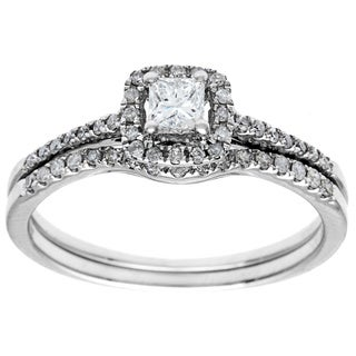 14k White Gold 1/2ct TDW Princess Diamond Bridal Set (G-H, I1)