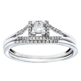 14k White Gold 1/2ct TDW Princess-Cut Diamond Bridal Set (G-H, I1)