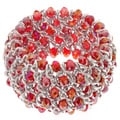 La Preciosa Silvertone Red Crystal Wide Stretch Bracelet