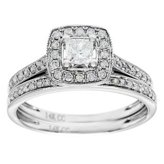 14K White Gold 1ct TDW Princess-Cut Diamond Bridal Set (G-H, I1)