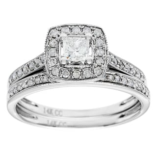14K White Gold 1ct TDW Diamond Bridal Set (G-H, I1)
